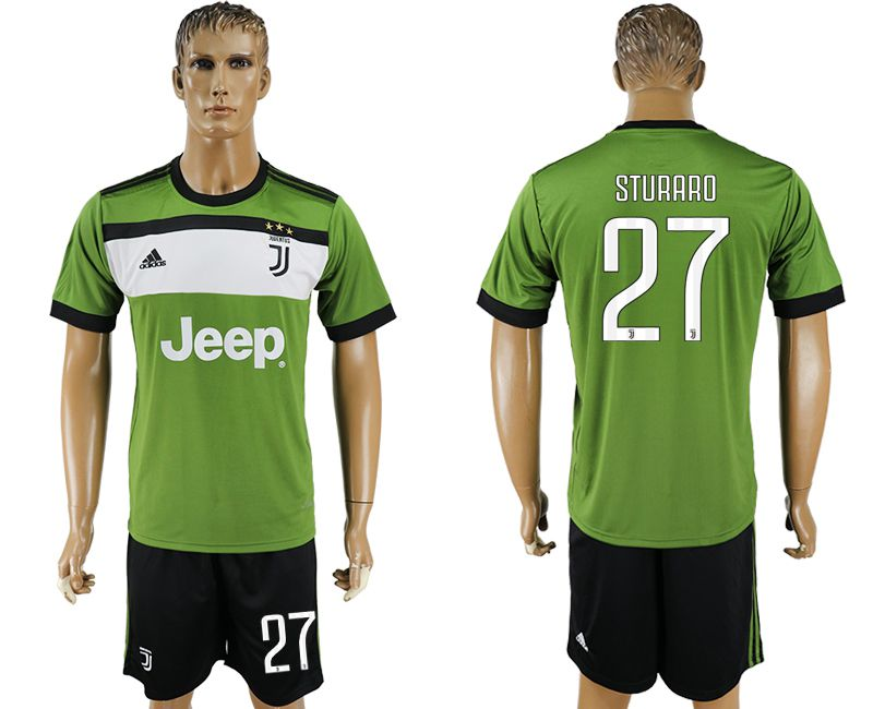 Men 2017-2018 club Juventus second away 27 green soccer jersey