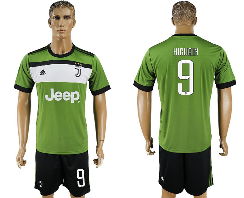 Men 2017-2018 club Juventus second away 9 green soccer jersey