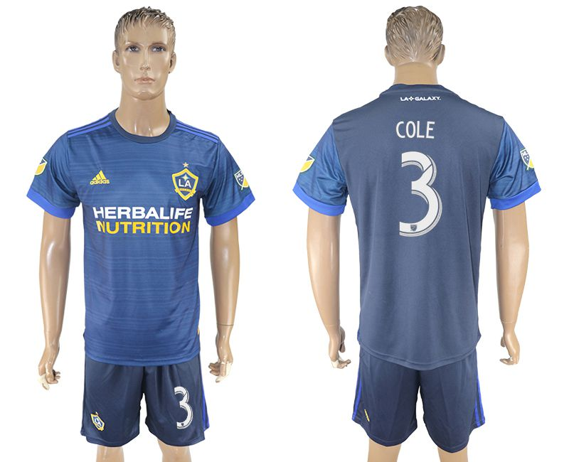 Men 2017-2018 club LA Galaxy away 3 blue soccer jersey