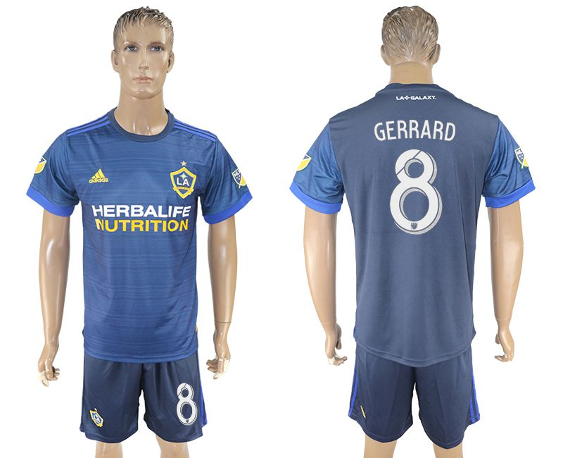 Men 2017-2018 club LA Galaxy away 8 blue soccer jersey