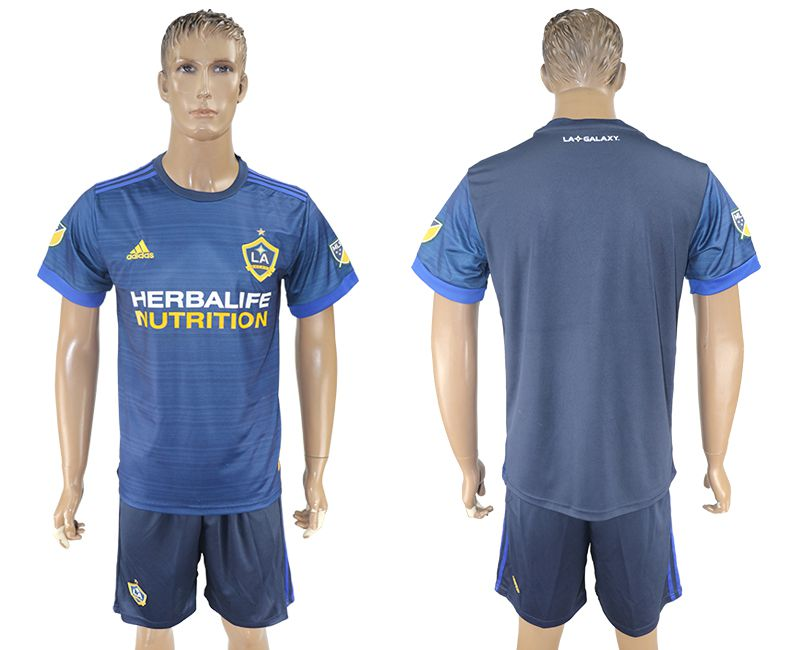 Men 2017-2018 club LA Galaxy away blank blue soccer jersey