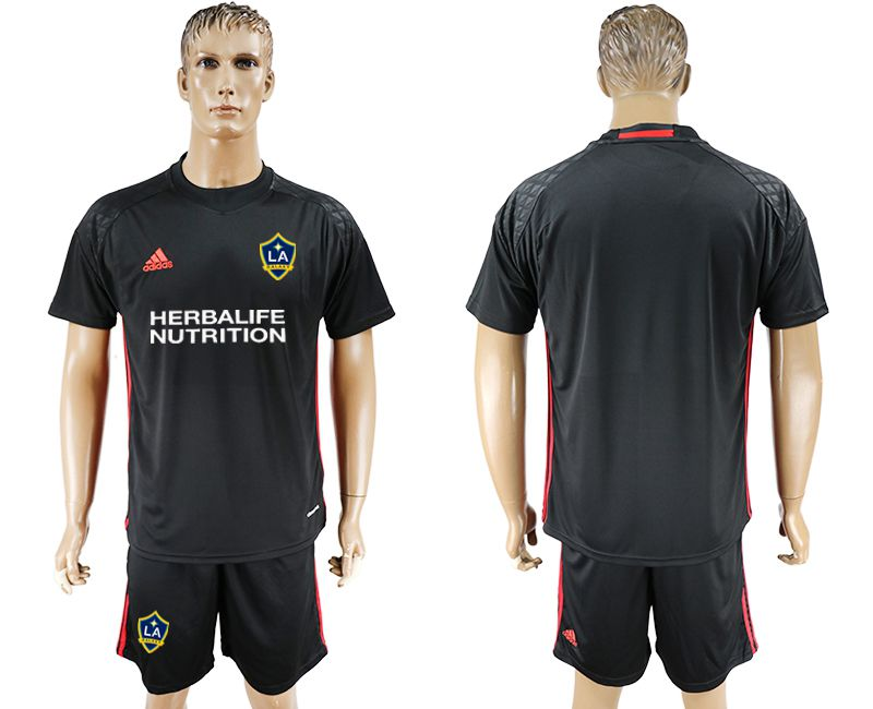 Men 2017-2018 club LA Galaxy goalkeeper black soccer jersey