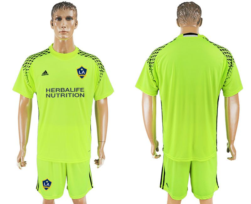 Men 2017-2018 club LA Galaxy goalkeeper fluorescent green soccer jersey