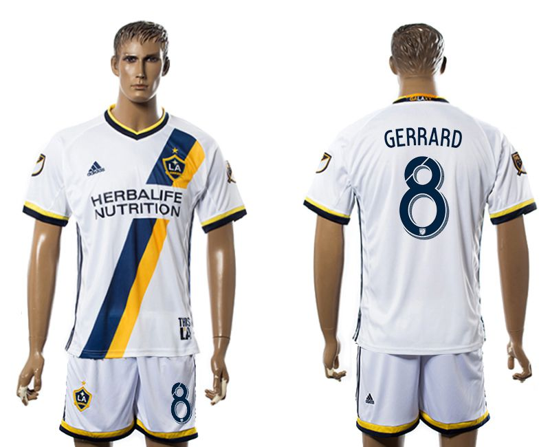 Men 2017-2018 club LA Galaxy home 8 white soccer jersey
