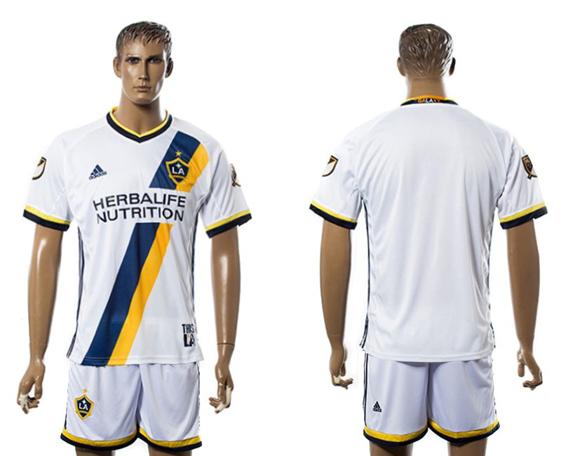 Men 2017-2018 club LA Galaxy home blank white soccer jersey