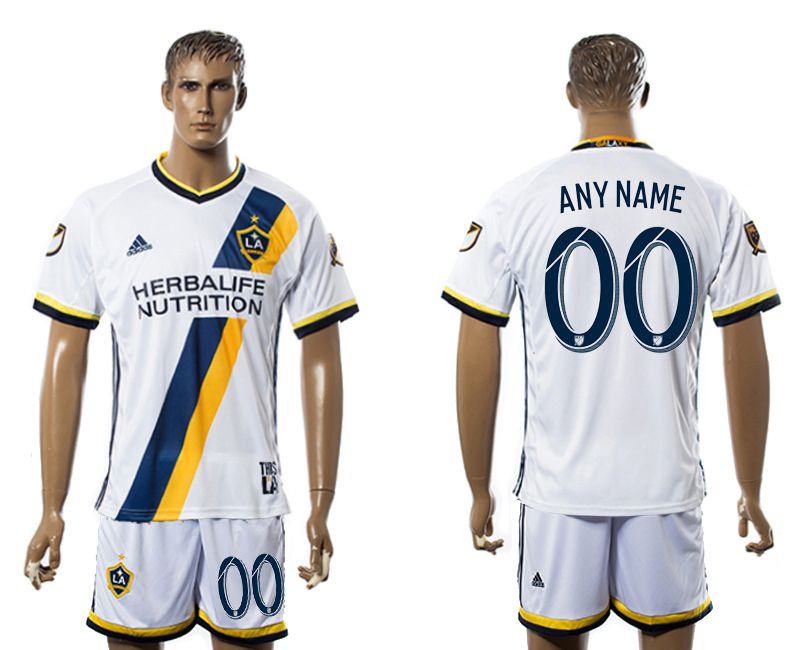 Men 2017-2018 club LA Galaxy home customized white soccer jersey