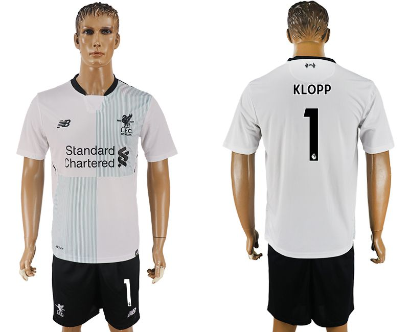 Men 2017-2018 club Liverpool away 1 white soccer jersey1