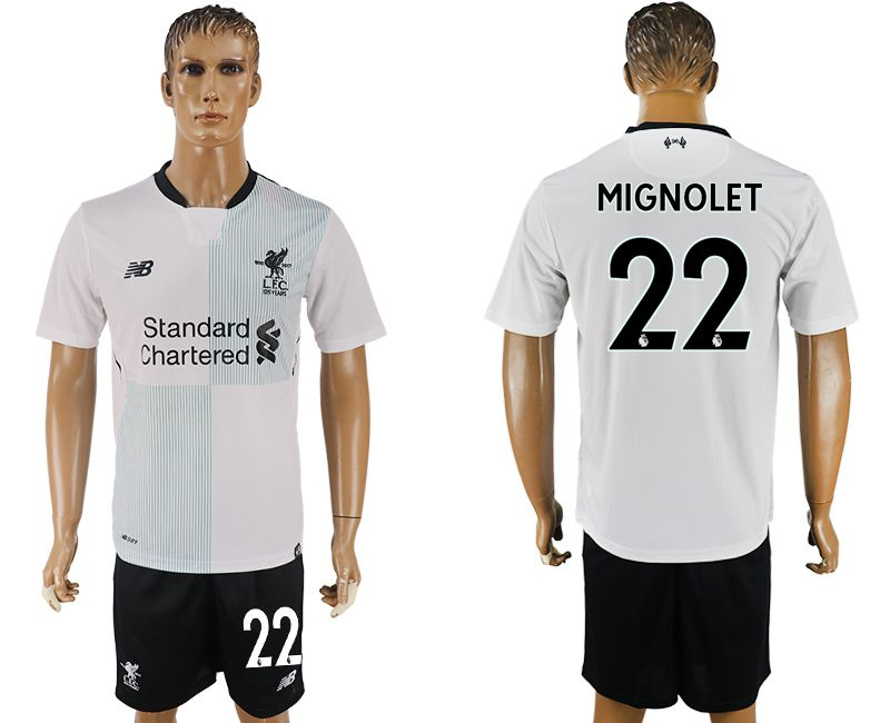 Men 2017-2018 club Liverpool away 22 white soccer jersey1