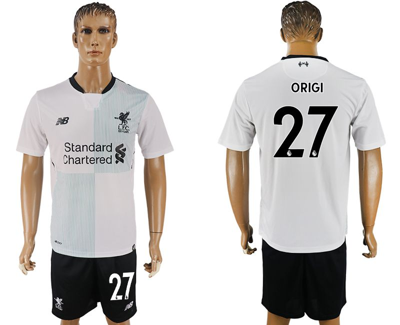 Men 2017-2018 club Liverpool away 27 white soccer jersey1