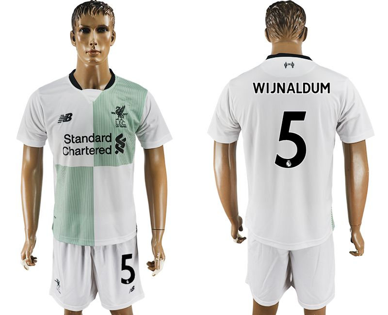 Men 2017-2018 club Liverpool away 5 white soccer jersey