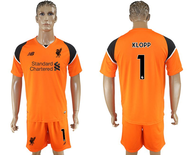 Men 2017-2018 club Liverpool goalkeeper 1 orange soccer jersey