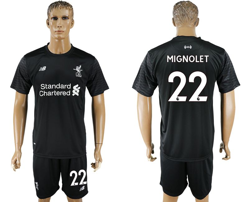 Men 2017-2018 club Liverpool goalkeeper 22 balck soccer jersey