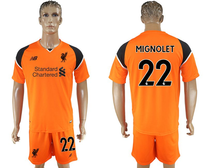 Men 2017-2018 club Liverpool goalkeeper 22 orange soccer jersey