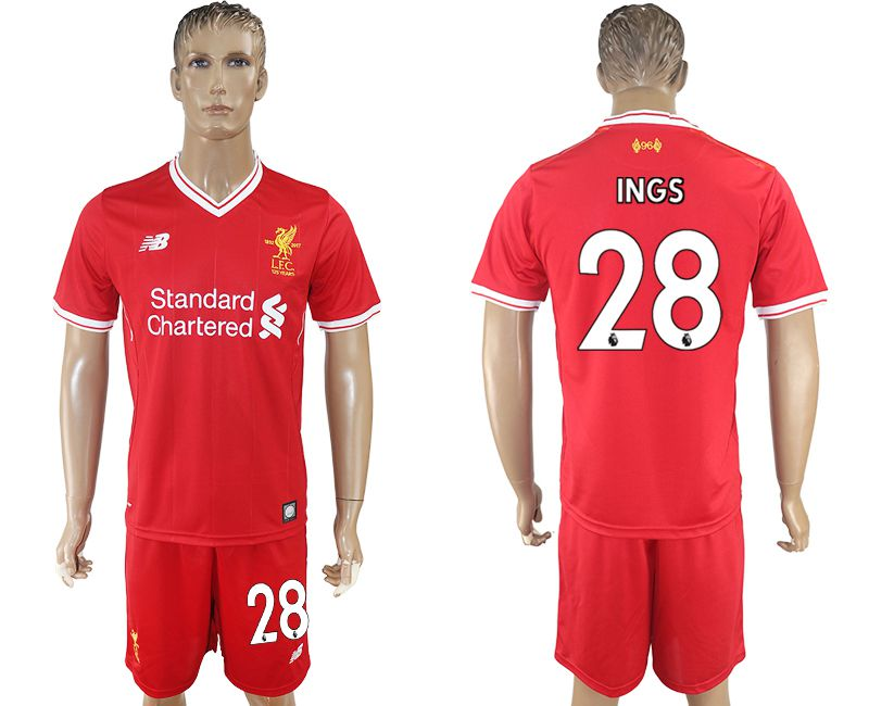 Men 2017-2018 club Liverpool home 28 red soccer jersey