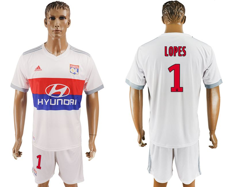 Men 2017-2018 club Lyon home 1 white soccer jersey