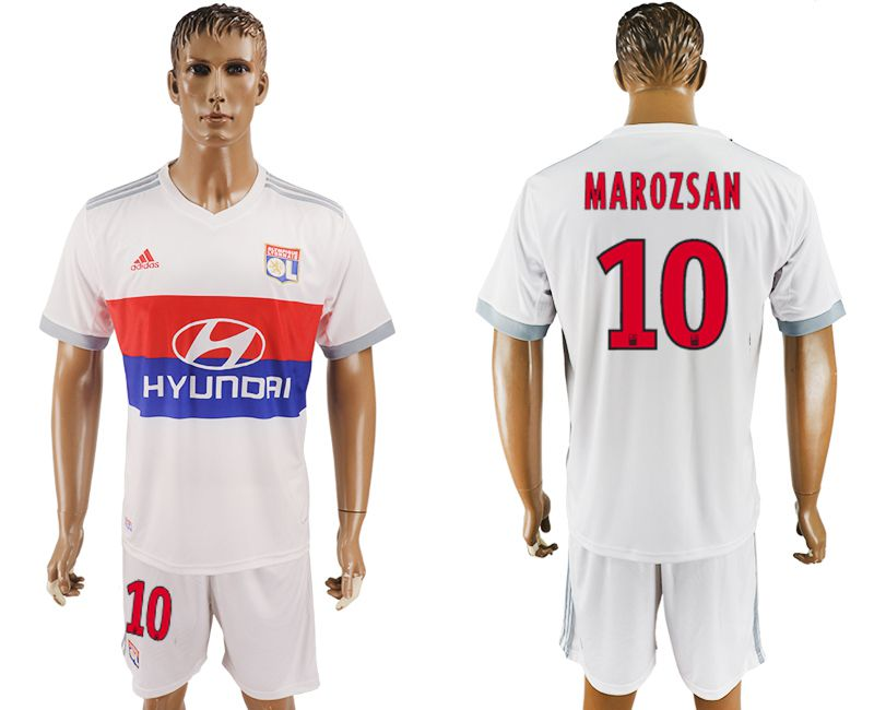 Men 2017-2018 club Lyon home 10 white soccer jersey1