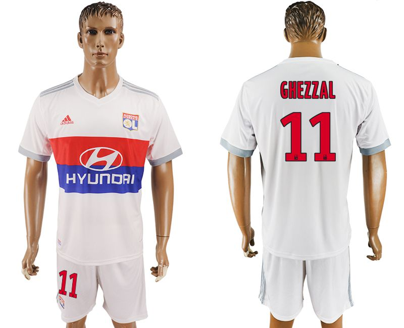 Men 2017-2018 club Lyon home 11 white soccer jersey