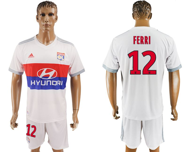 Men 2017-2018 club Lyon home 12 white soccer jersey