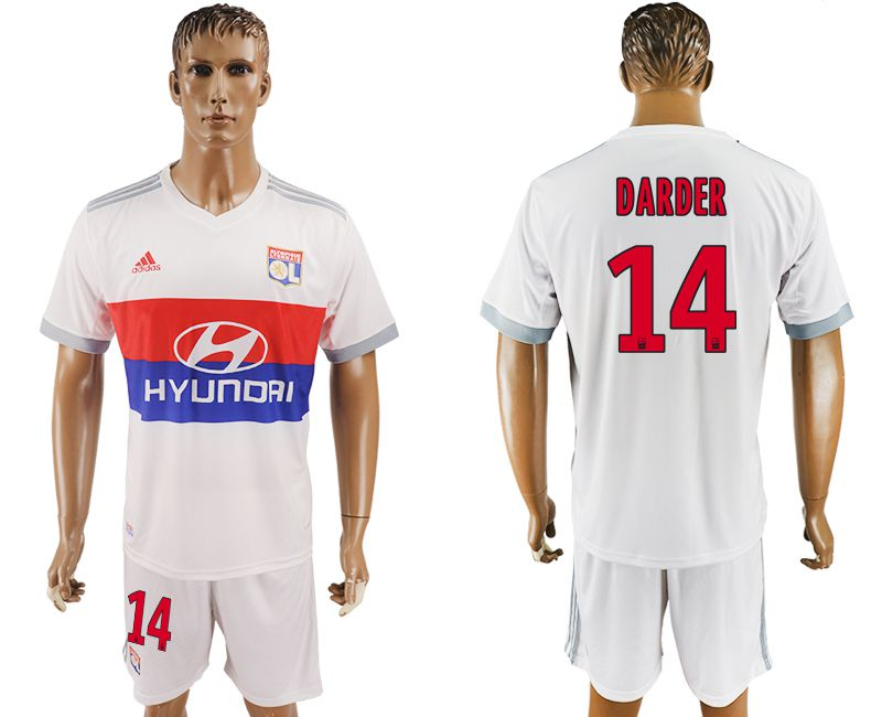 Men 2017-2018 club Lyon home 14 white soccer jersey