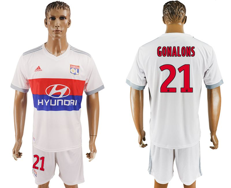 Men 2017-2018 club Lyon home 21 white soccer jersey