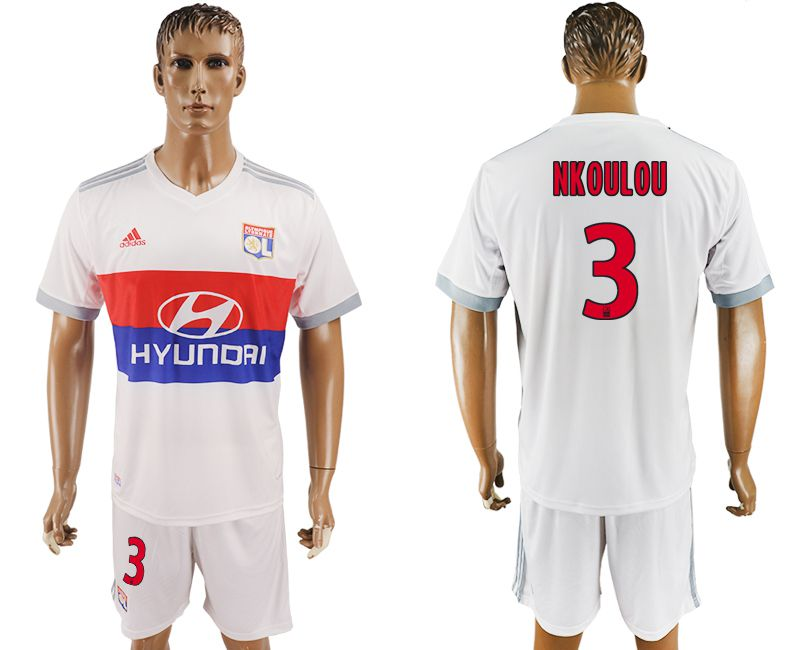 Men 2017-2018 club Lyon home 3 white soccer jersey