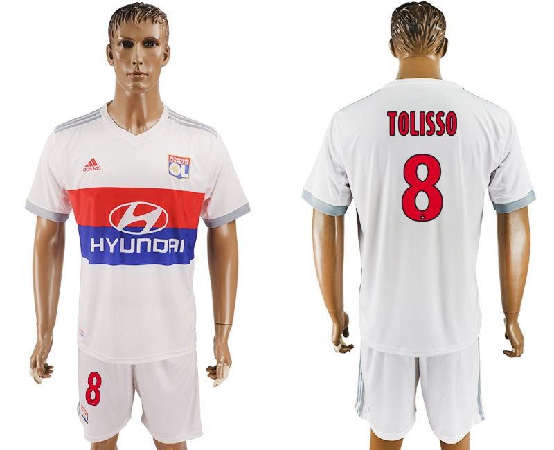 Men 2017-2018 club Lyon home 8 white soccer jersey