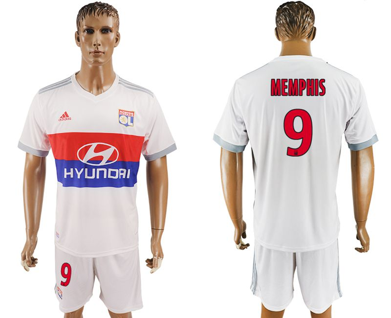 Men 2017-2018 club Lyon home 9 white soccer jersey
