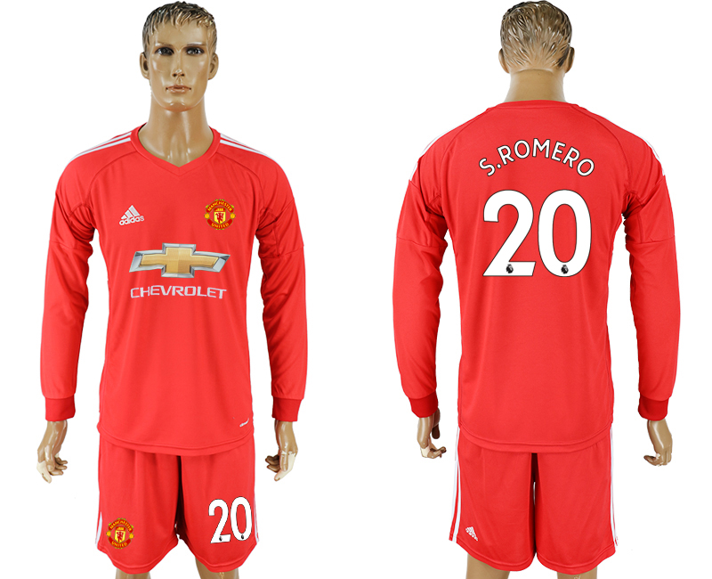 Men 2017-2018 club Manchester United Red long sleeve goalkeeper 20 soccer jersey