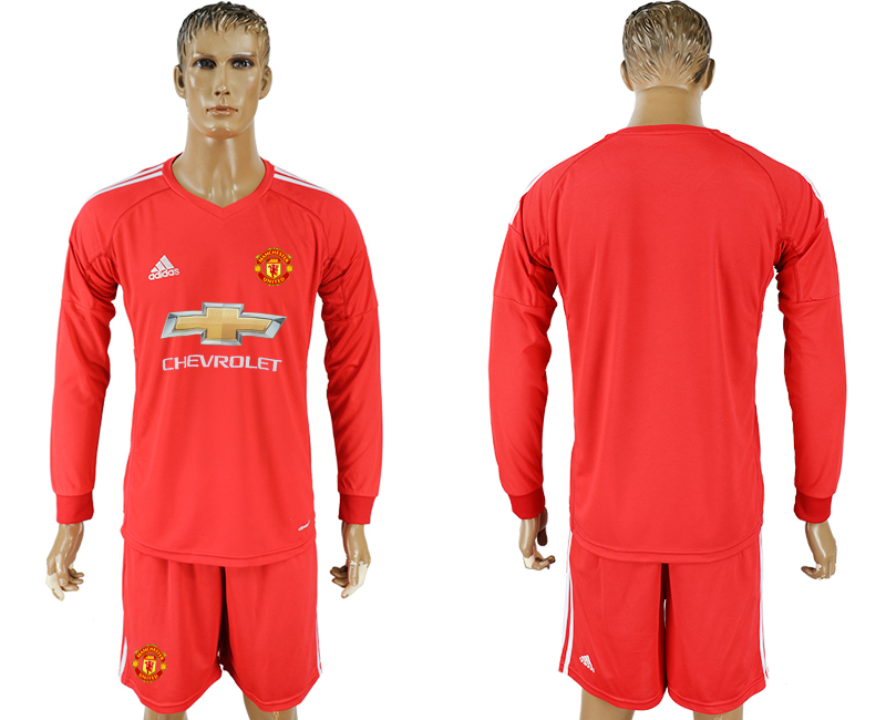 Men 2017-2018 club Manchester United Red long sleeve goalkeeper blank soccer jersey