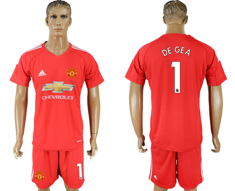 Men 2017-2018 club Manchester United goalkeeper 1 red soccer jersey