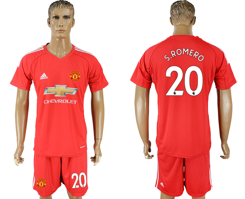 Men 2017-2018 club Manchester United goalkeeper 20 red soccer jersey