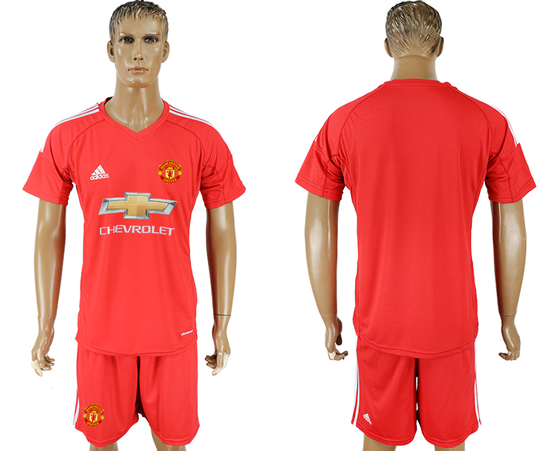 Men 2017-2018 club Manchester United goalkeeper blank red soccer jersey