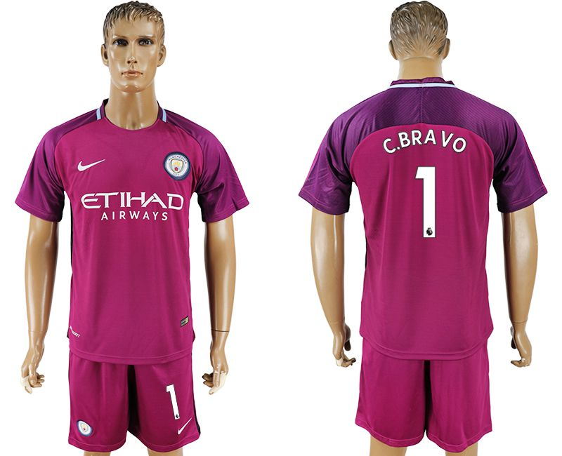 Men 2017-2018 club Manchester city away 1 red soccer jersey