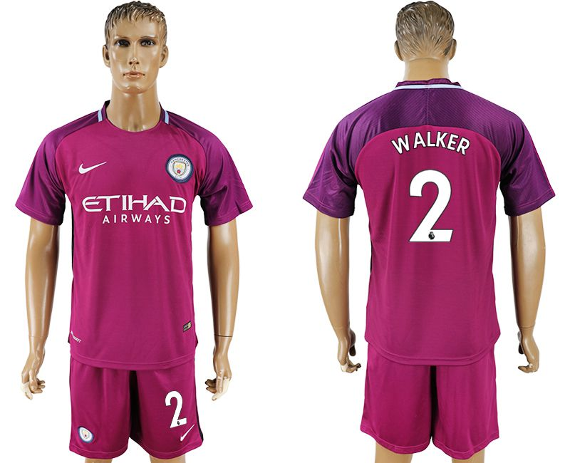 Men 2017-2018 club Manchester city away 2 red soccer jersey