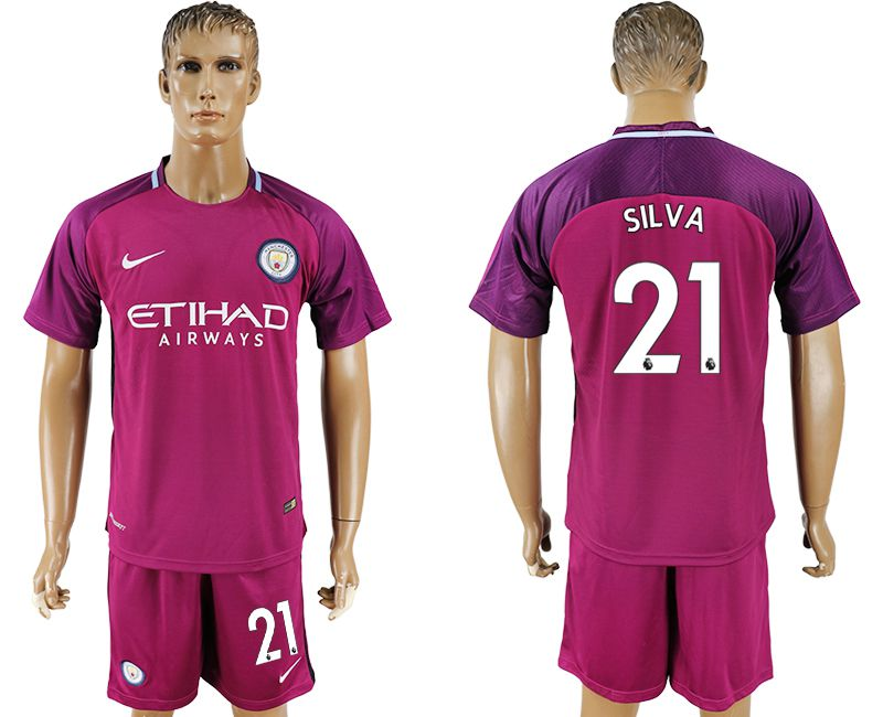 Men 2017-2018 club Manchester city away 21 red soccer jersey