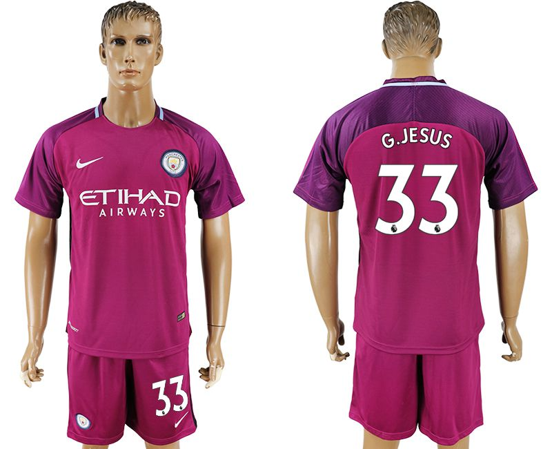 Men 2017-2018 club Manchester city away 33 red soccer jersey
