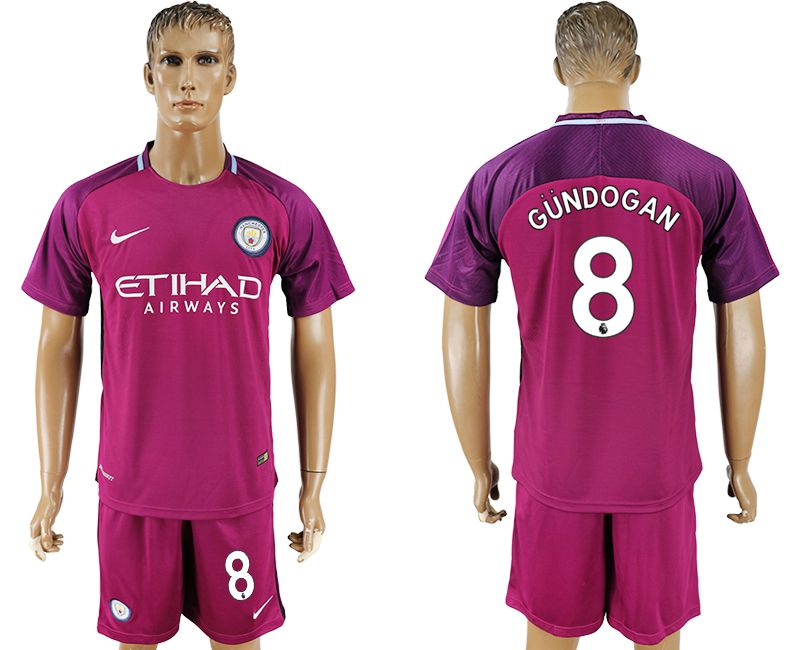 Men 2017-2018 club Manchester city away 8 red soccer jersey
