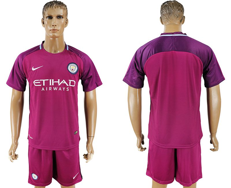 Men 2017-2018 club Manchester city away blank red soccer jersey