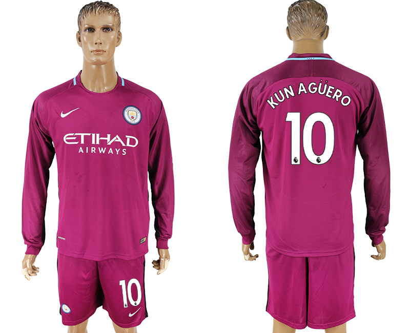 Men 2017-2018 club Manchester city away long sleeve 10 Dark red soccer jersey