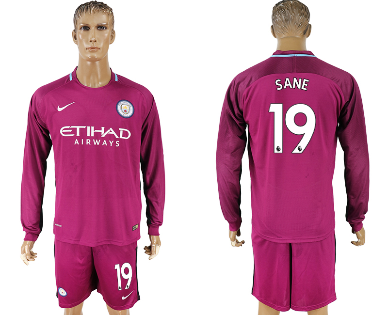 Men 2017-2018 club Manchester city away long sleeve 19 Dark red soccer jersey