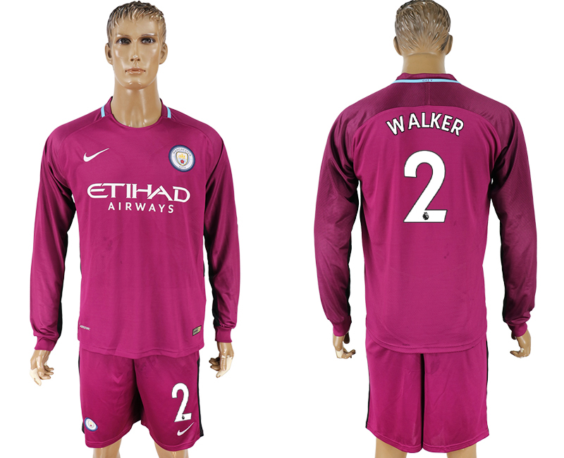 Men 2017-2018 club Manchester city away long sleeve 2 Dark red soccer jersey