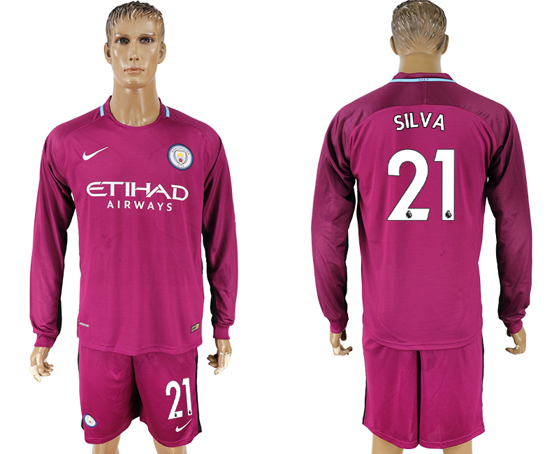 Men 2017-2018 club Manchester city away long sleeve 21 Dark red soccer jersey