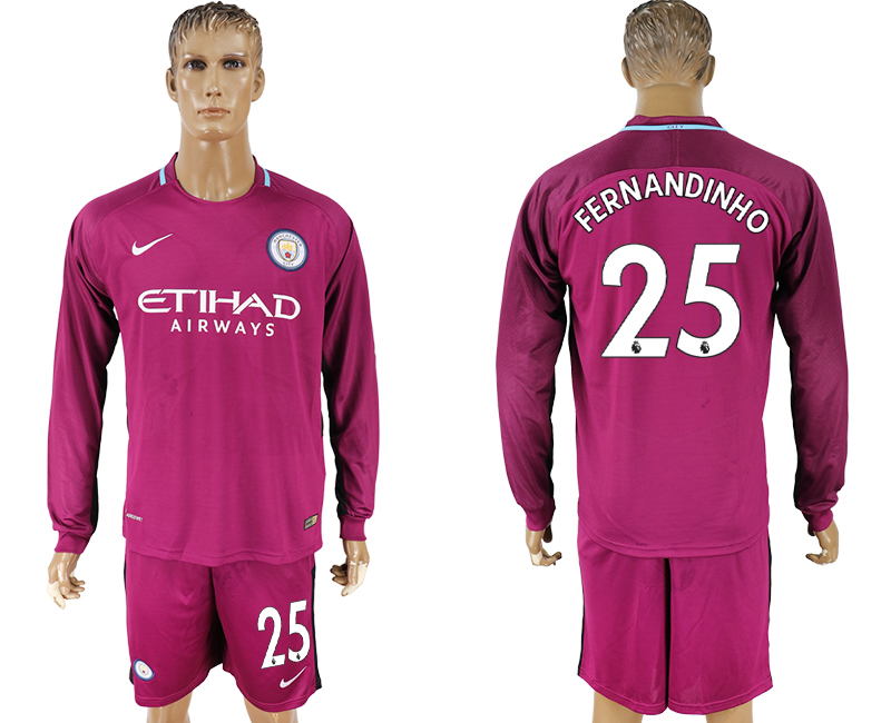 Men 2017-2018 club Manchester city away long sleeve 25 Dark red soccer jersey