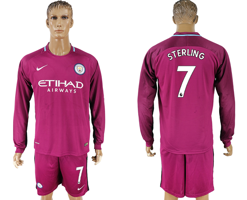 Men 2017-2018 club Manchester city away long sleeve 7 Dark red soccer jersey