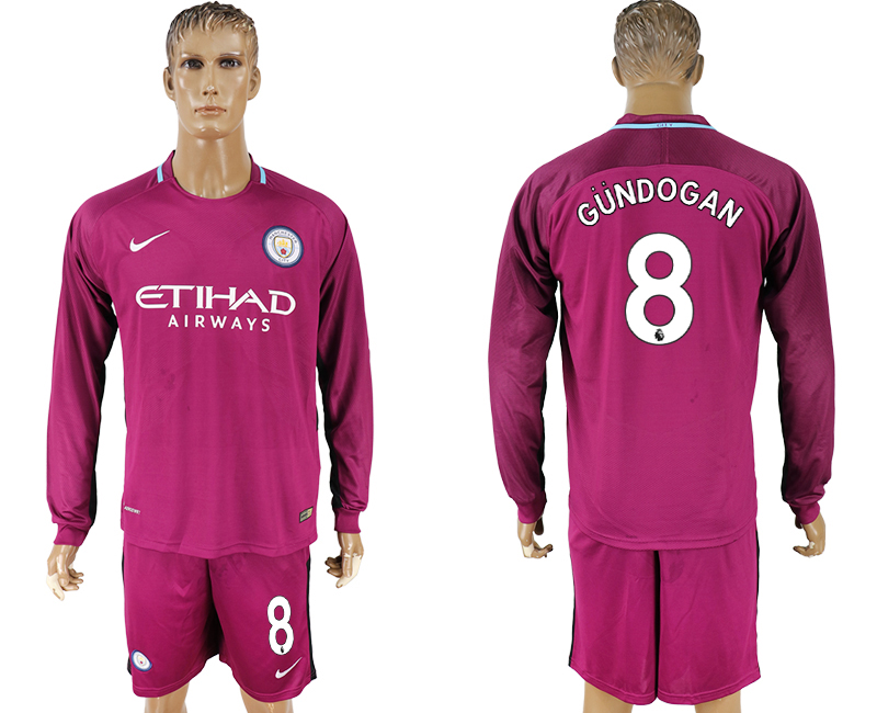 Men 2017-2018 club Manchester city away long sleeve 8 Dark red soccer jersey