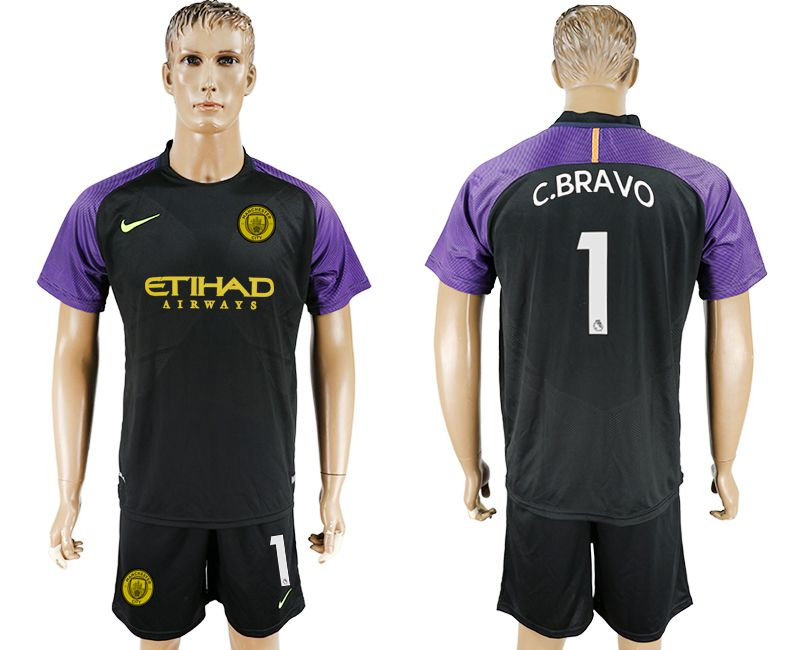 Men 2017-2018 club Manchester city goalkeeper 1 black soccer jersey