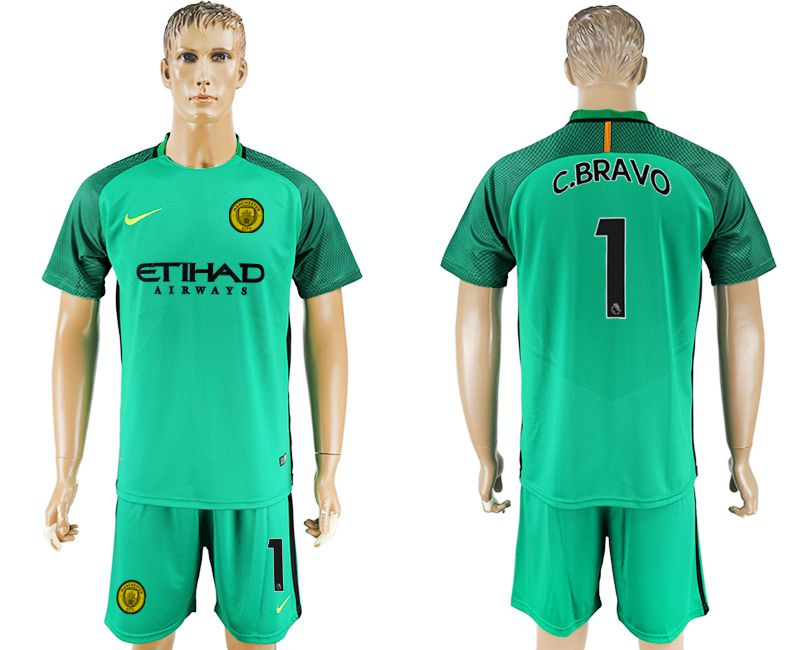 Men 2017-2018 club Manchester city goalkeeper 1 green soccer jersey