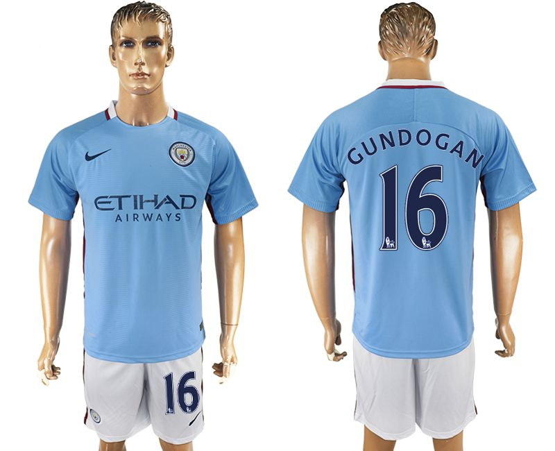 Men 2017-2018 club Manchester city home 16 blue soccer jersey