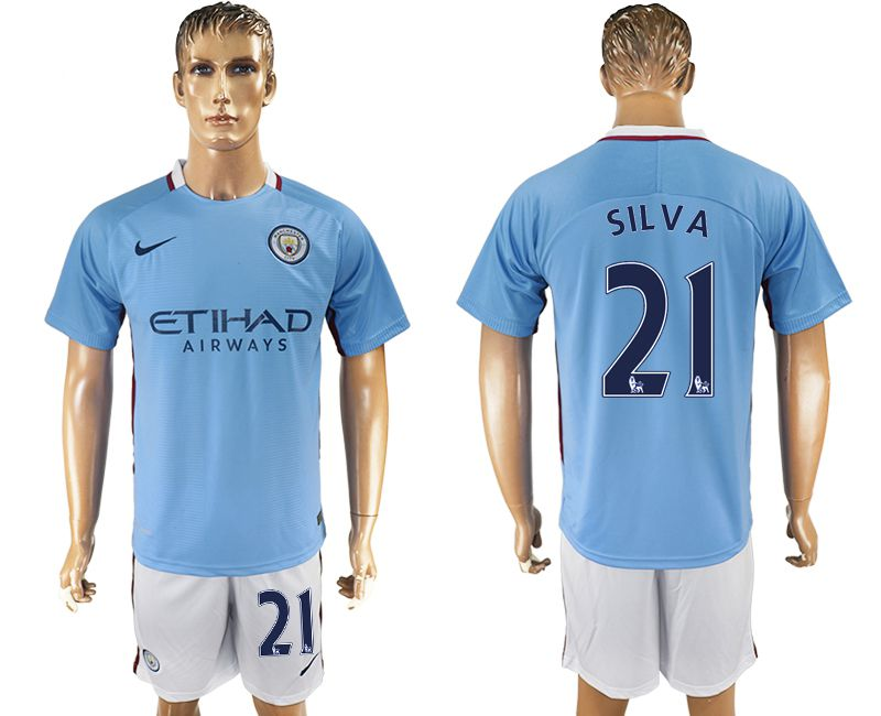 Men 2017-2018 club Manchester city home 21 blue soccer jersey