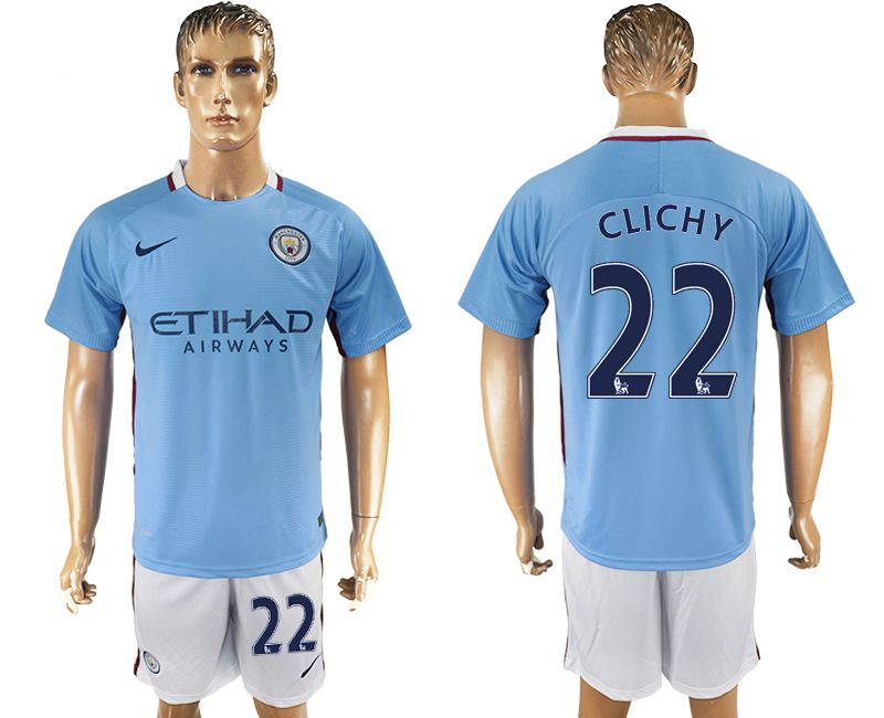 Men 2017-2018 club Manchester city home 22 blue soccer jersey